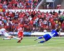 Volante do CRB, Marcinho vibra com  primeiro gol marcado em Alagoas