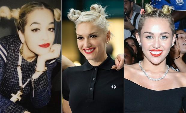Coque duplo - Rita Ora, Gwen Stefani e Miley Cyrus (Foto: Instagram | Getty Images)