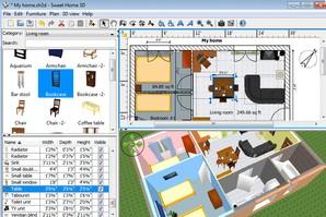Sweet Home 3D, construção em ambiente 3D
