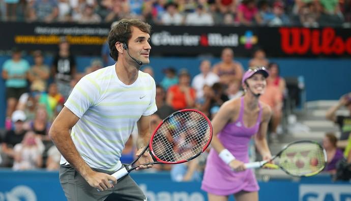 Roger Federer e Martina Hingis na Copa Hopman em torneio exibição (Foto: Getty Images)