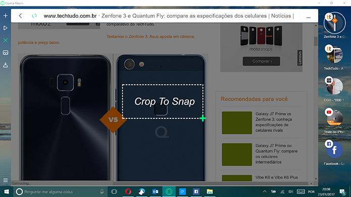 Opera Neon possui ferramenta de captura de tela embutida (Foto: Reprodução/Elson de souza)