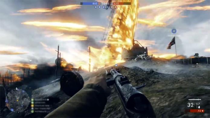 Uma explosão de zepelim em Battlefield 1 pode se tornar um grande tornado de fogo (Foto: Reprodução/YouTube)