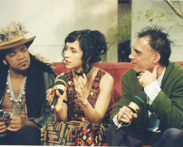 Brown na companhia de Marisa Monte e Arnaldo Antunes. Juntos, eles era os Tribalistas (Foto: Arquivo pessoal)