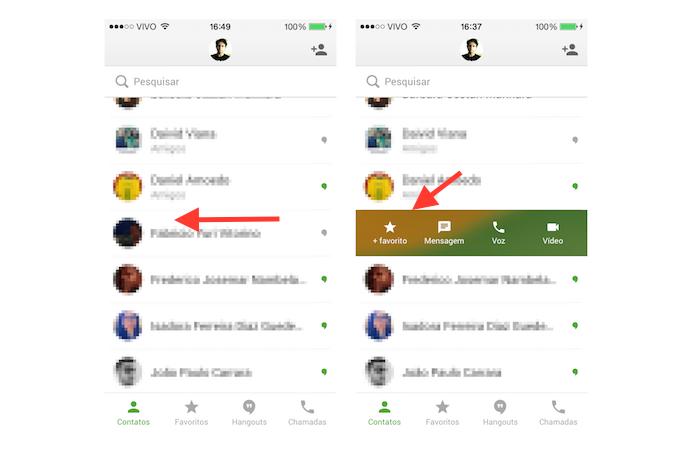 Incluindo um contato na lista de favoritos do Hangouts no iOS (Foto: Reprodução/Marvin Costa)