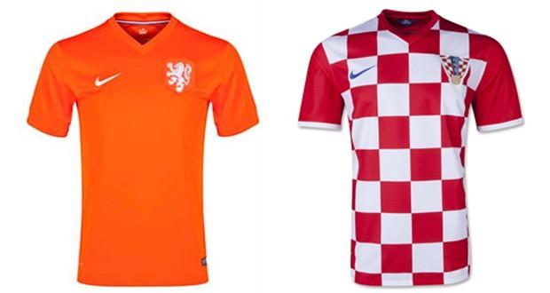 Uniformes das selees da Holanda e da Crocia.  (Foto: Divulgao / Nike)
