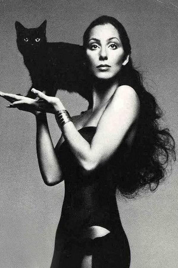 Cher e gato em clique by Richard Avedon (Foto: Vogue, 1974)
