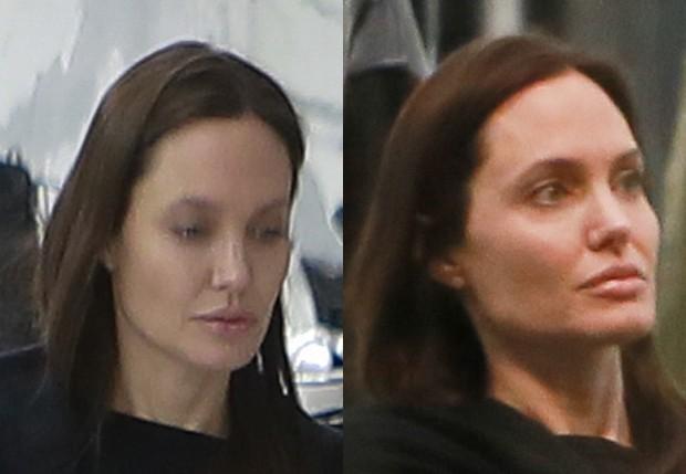 Angelina Jolie ainda abriu mão da maquiagem (Foto: Grosby Group)