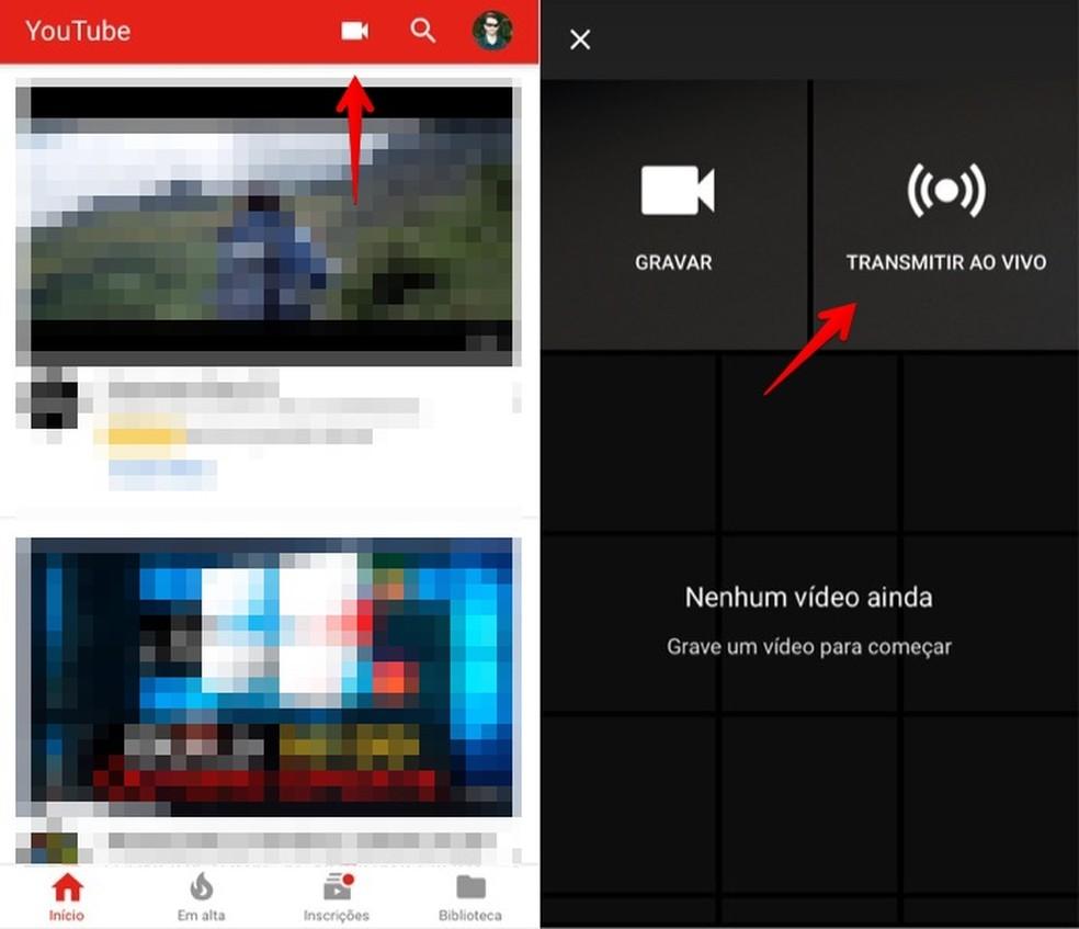 """5236ecfcfc6ae Abra o aplicativo do YouTube e toque sobre o ícone de câmera, no canto  superior direito da tela. Em seguida, selecione """"Transmitir ao vivo""""."""