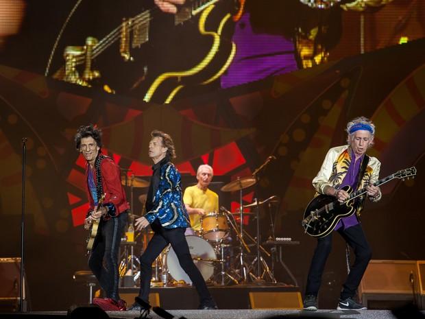 Ronnie Wood, Mick Jagger, Charlie Watts e Keith Richards durante primeira apresentação dos Rolling Stones na turnê 'Olé' em São Paulo (Foto: Marcelo Brandt/G1)