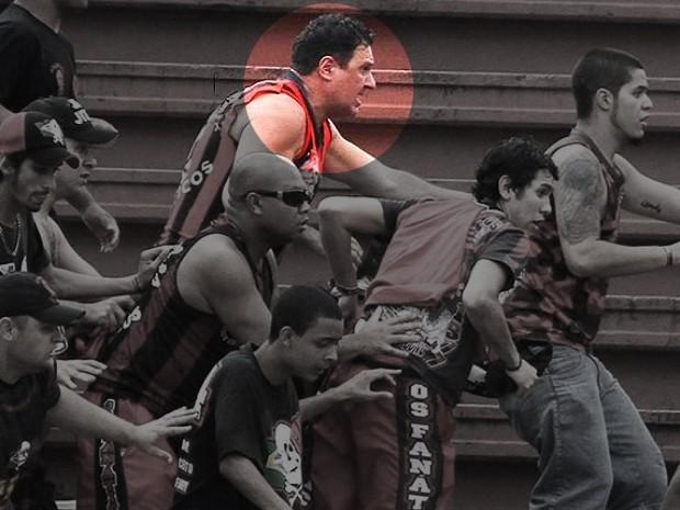 Juliano Borghetti aparece na confusão envolvendo torcedores do Atlético-PR e Vasco (Foto: Geraldo Bubniak/Agência Estado)
