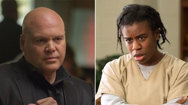 """Vincent D'Onofrio, em cena de 'Demolidor', e Uzo Aduba como a Crazy Eyes de """"Orange is the new black"""", do Netflix (Foto: Divulgação)"""