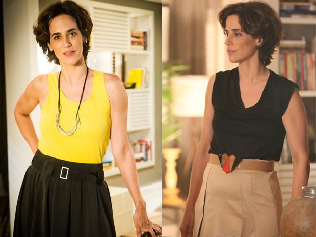 Isabel usa e abusa das pantalonas e saias longas, sempre com a cintura marcada (Foto: João Miguel Júnior / Globo e Isabella Pinheiro/Gshow)