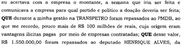 Trecho Henrique Eduardo Alves delação Sergio Machado Lava Jato (Foto: Reprodução)