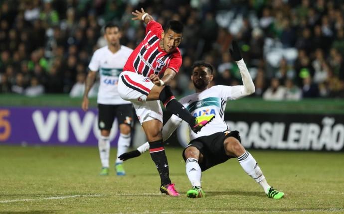 Rogério, do São Paulo, finaliza contra o Coritiba (Foto: Rubens Chiri / saopaulofc.net)