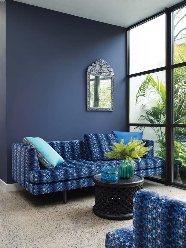 Sala De Estar Na Cor Azul ~ Décor do dia estampa e uma só cor  Casa Vogue  Décor do dia