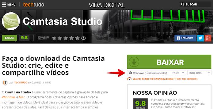 Baixando o Camtasia Studio (Foto: Reprodução/Helito Bijora)