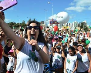 Atriz Mariana Xavier na Pedalada Sustentável (Foto: Guilherme Ferrari)