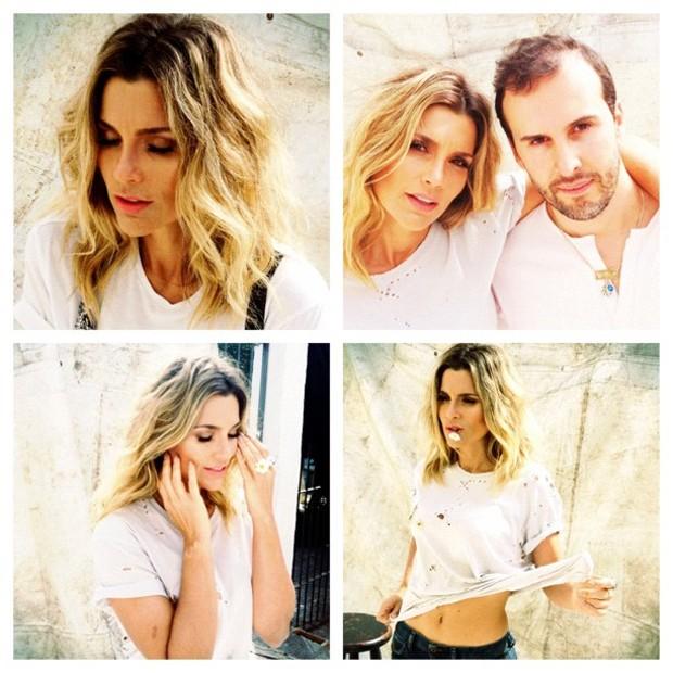 A atriz ao lado do hairstylist Marcos Proença, nos bastidores de uma campanha (Foto: Reprodução/Instagram)