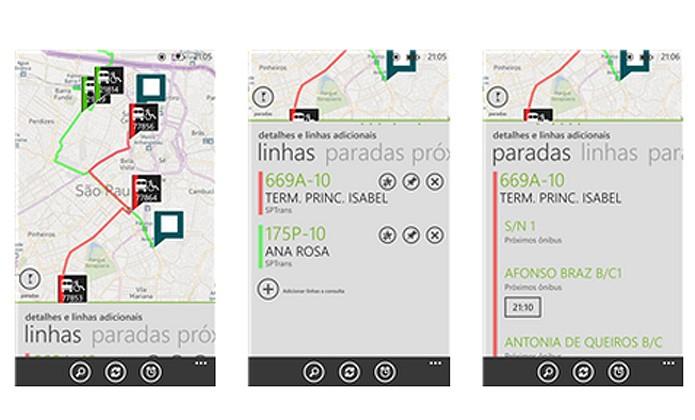 O app Ônibus Ao Vivo facilita a vida de quem usa o transporte público em São Paulo. Ele mapeia rotas, localiza paradas, entre outras funções (Foto: Reprodução/Windows Phone Store)