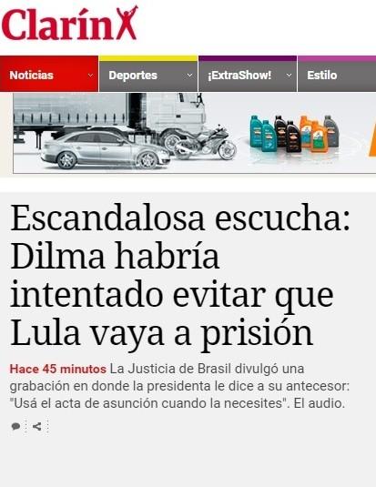 """Site do jornal Clarín, da Argentina. Jornal classificou áudio como """"escuta escandalosa"""" (Foto: Reprodução)"""