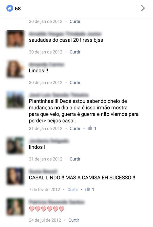 Comentários em foto de Manuella Vieira (Foto: Facebook / Reprodução)