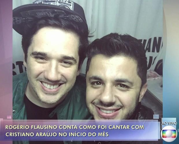Foto do post que Cristiano Araújo fez em sua rede social após conhecer Rogério Flausino (Foto: TV Globo)