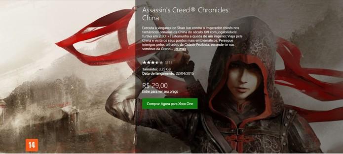 Página do game na Xbox LIVE Store (Foto: Reprodução/André Mello)