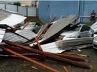 Telhado cai com vento e atinge 40 carros  (Raphael Martins / RPC )