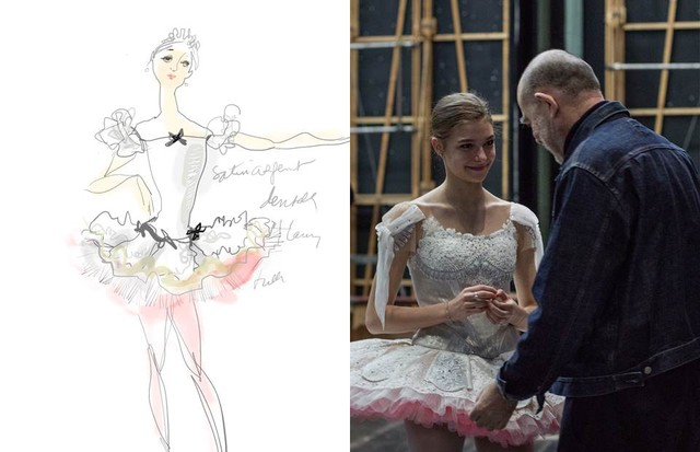 Christian Lacroix's watercolour costume illustration for A Midsummer Night's Dream and Lacroix making final adjustments during the dress rehearsal (Foto: ANN RAY; CHRISTIAN LACROIX)