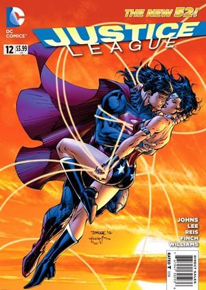 Super-Homem e Mulher-Maravilha se beijam na capa de HQ da 'Liga da justiça' (Foto: Reprodução)