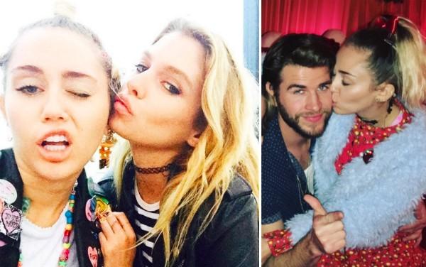 A cantora Miley Cyrus com a ex-namorada, a modelo Stella Maxwell, e com o noivo, o ator Liam Hemsworth (Foto: Instagram)