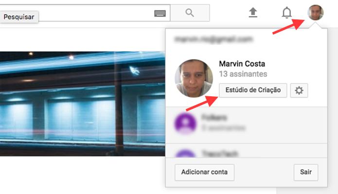 Caminho para acessar as ferramentas do estúdio de criação em um canal do YouTube (Foto: Reprodução/Marvin Costa)
