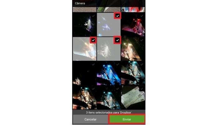 Seleção de arquivos para enviar ao Dropbox (Foto: Reprodução/Lívia Dâmaso)