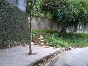 Calçada acaba 'de repente' em rua da Zona Oeste de SP (Foto: Eunice Avanci de Souza/VC no G1)