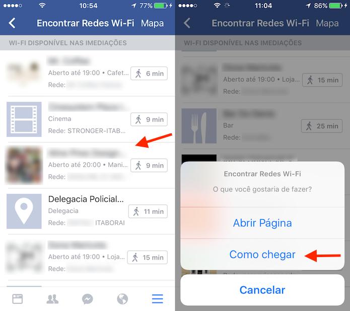 Opção para verificar redes Wi-Fi por meio do aplicativo do Facebook para iPhone (Foto: Reprodução/Marvin Costa)