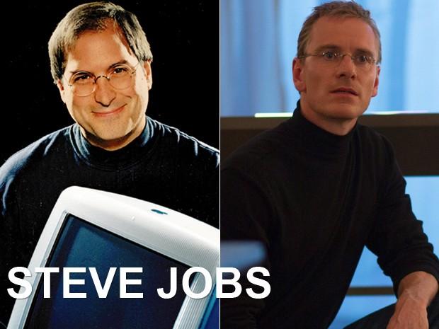 À esquerda, Steve Jobs, fundador da Apple, e, à dir., Michael Fassbender em 'Steve Jobs' (Foto: Moshe Brakha/AP e Divulgação)