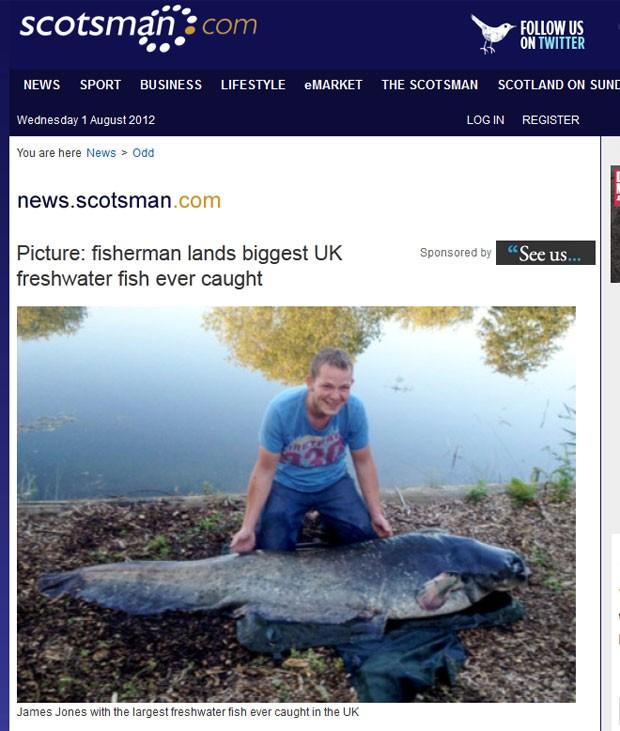 James Jones lutou durante duas horas para vencer a batalha contra um peixe de 65,3 quilos. (Foto: Reprodução)