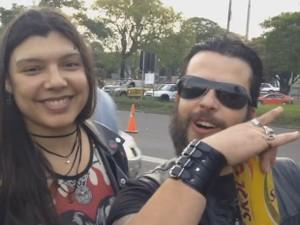 Casal Eduardo Mota e Tais Rosa, show, Black Sabbath, Porto Alegre (Foto: Reprodução/Giulia Perachi)