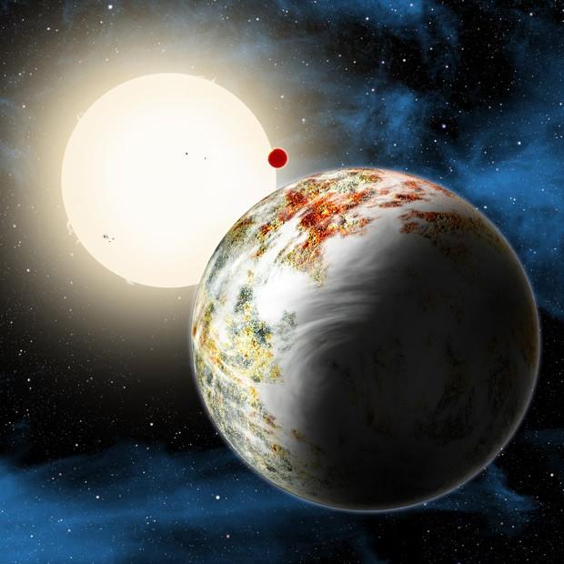 Concepção artística mostra o sistema Kepler-10, que integra dois planetas rochosos; em primeiro plano, o Kepler-10c, considerado uma megaterra; no fundo, o planeta Kepler-10b (Foto: David Aguilar/Harvard-Smithsonian Center for Astrophysics)