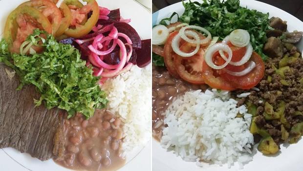 Tayna limitou a quantidade de arroz e feijão e inclui verduras e legumes em seus pratos (Foto: Tayna César/Arquivo pessoal)