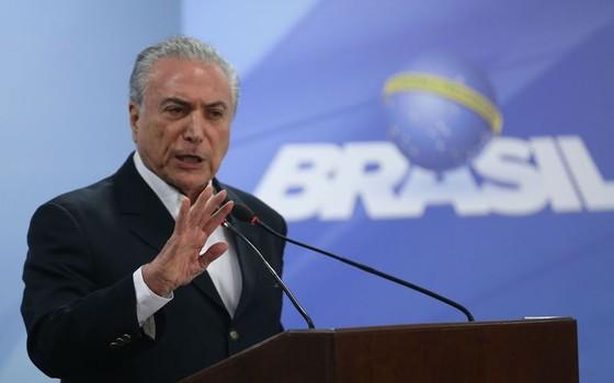 Temer faz pronunciamento no Palácio do Planalto (Foto: Agência Brasil)