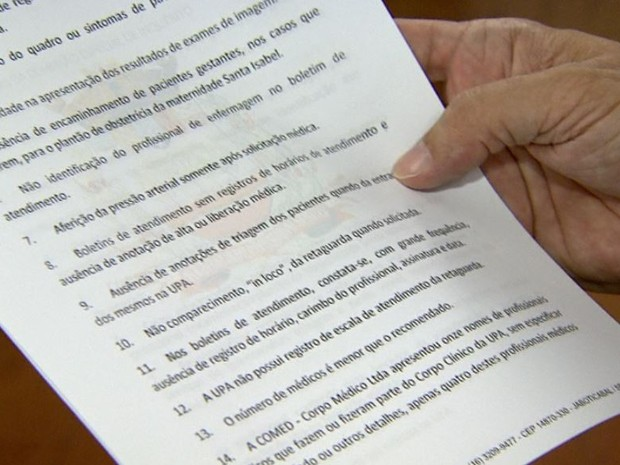 Documento com irregularidades na UPA de Jaboticabal será entregue ao MP em janeiro (Foto: Reprodução/EPTV)
