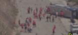 Ônibus vira com os jogadores do Huracán-ARG (Reprodução Twitter)