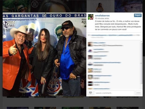Amália Barros, assessora de impressa da dupla Milionário e José Rico (à direita), lamenta morte do cantor (Foto: Reprodução/Instagram)