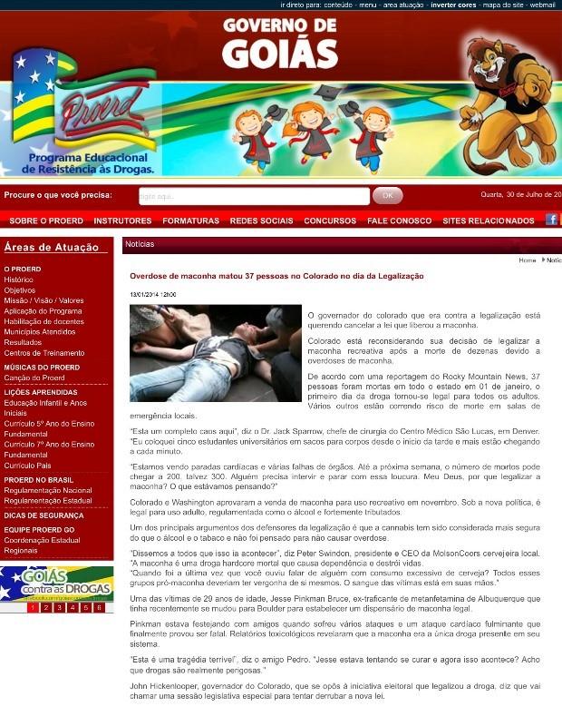Print da notícia antes de ser excluída pela Polícia Miltiar de Goiás (Foto: Reprodução/ Proerd)