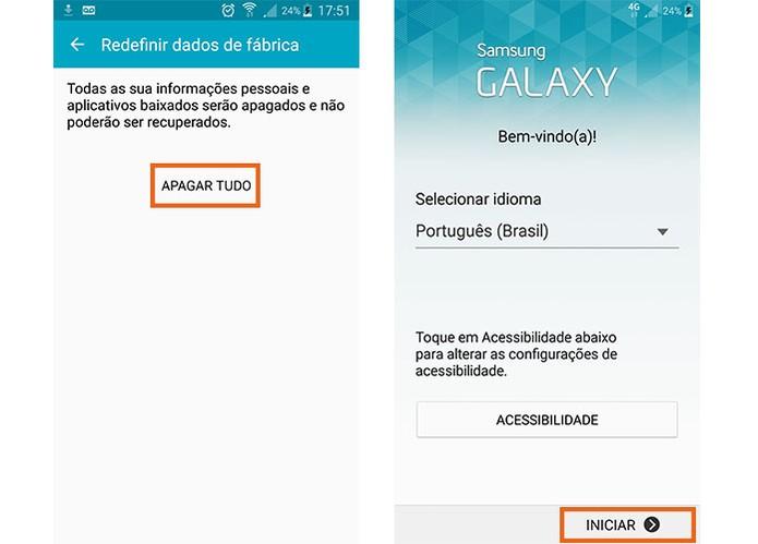 Confirme no botão para apagar tudo do Galaxy S5 e depois configura quando ligar (Foto: Reprodução/Barbara Mannara)
