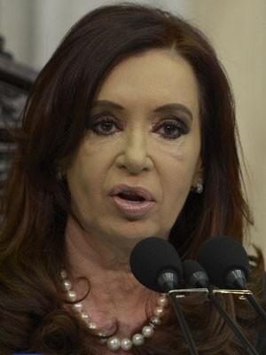 Presidente argentina Cristina Kirchner discursa no início dos trabalhos do Congresso, em Buenos Aires. (Foto: Juan Mabromata/AFP)