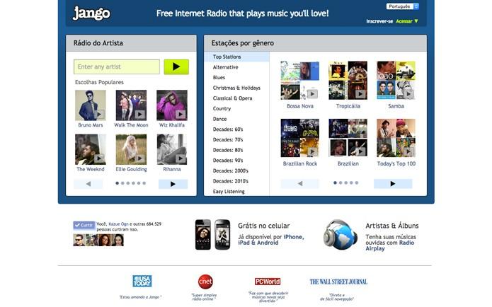 O Jango oferece versão desktop com dois layouts e app mobile (Foto: Reprodução/André Sugai)