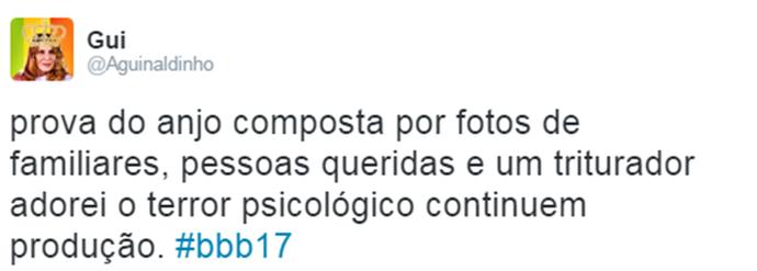 Internauta comenta Prova do Anjo Triturador BBB (Foto: Reprodução da Internet / Twitter @Aguinaldinho)