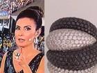 Fátima Bernardes usa joias de diamantes negros em seu look